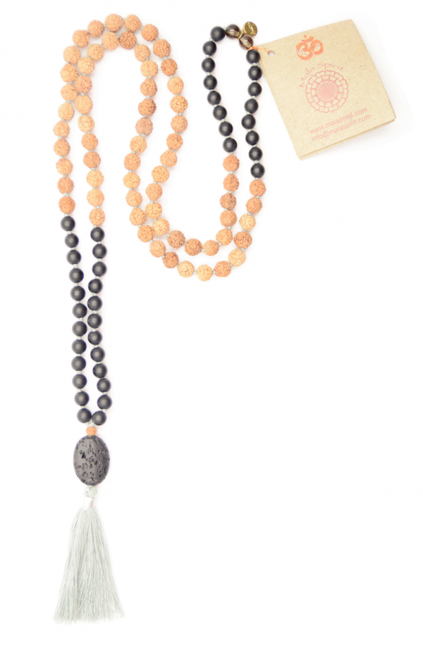 Mala spirit earth walk mala ketting onyx lavasteen rudraksha