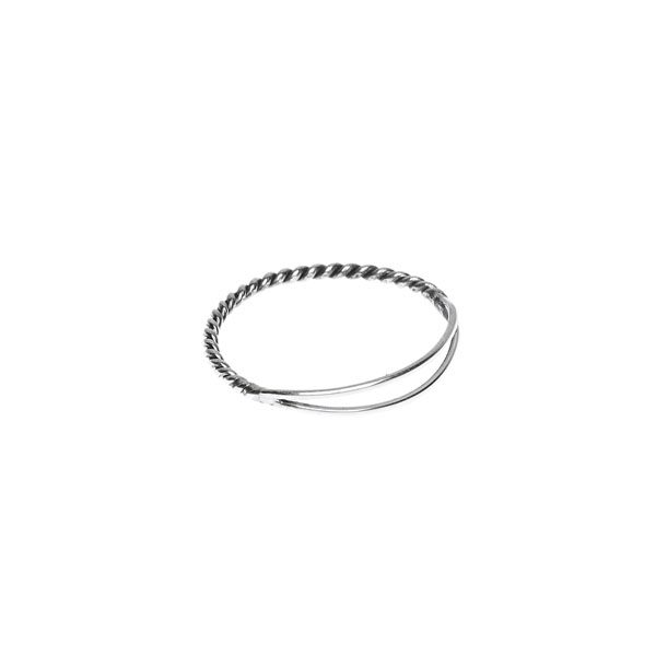 Zilveren ring Xzota Double silver ring stack