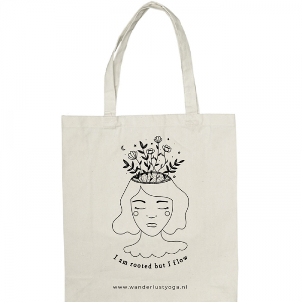 canvas shopper tote bag met zeefdruk print yoga