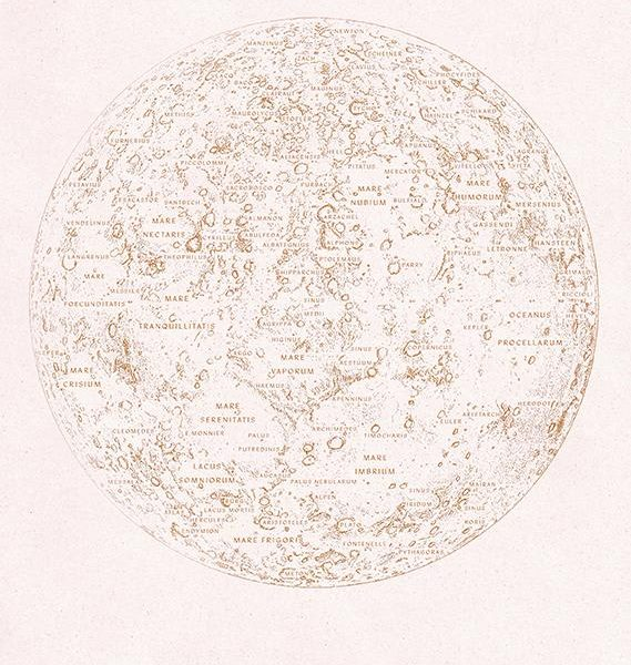 Anna Cosma A3 print Mpap of the Moon maanposter